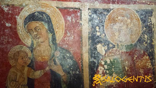 Cripta della Favana, Vergine e Santo Stefano