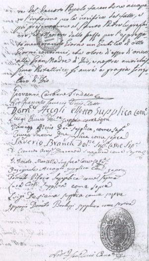 Una parte della lettera presentata per il Giubileo (Fonte: in bibliografia)