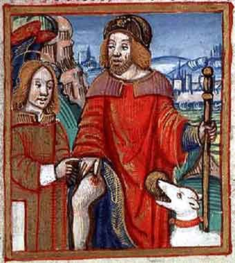 San Rocco in una miniatura medioevale (Fonte: wikipedia)