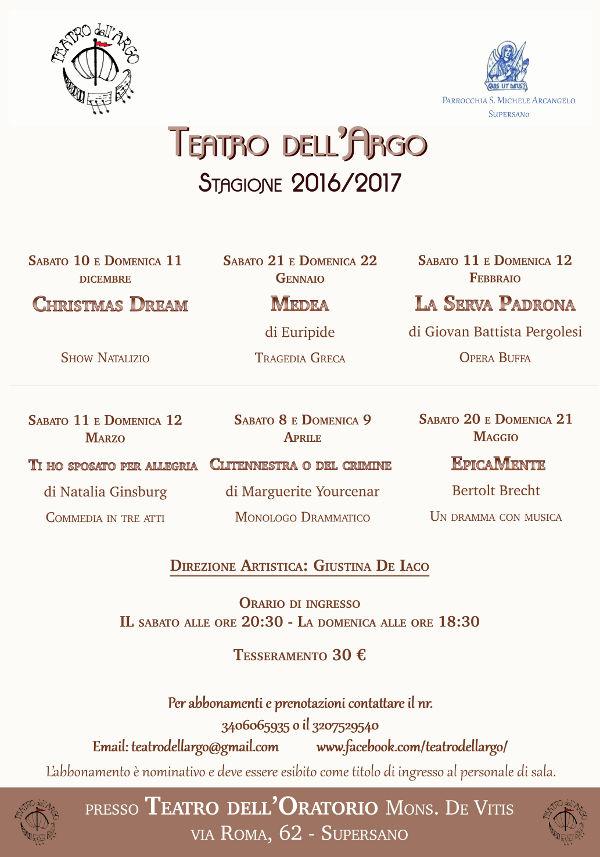 Stagione teatrale Teatro dell'Argo